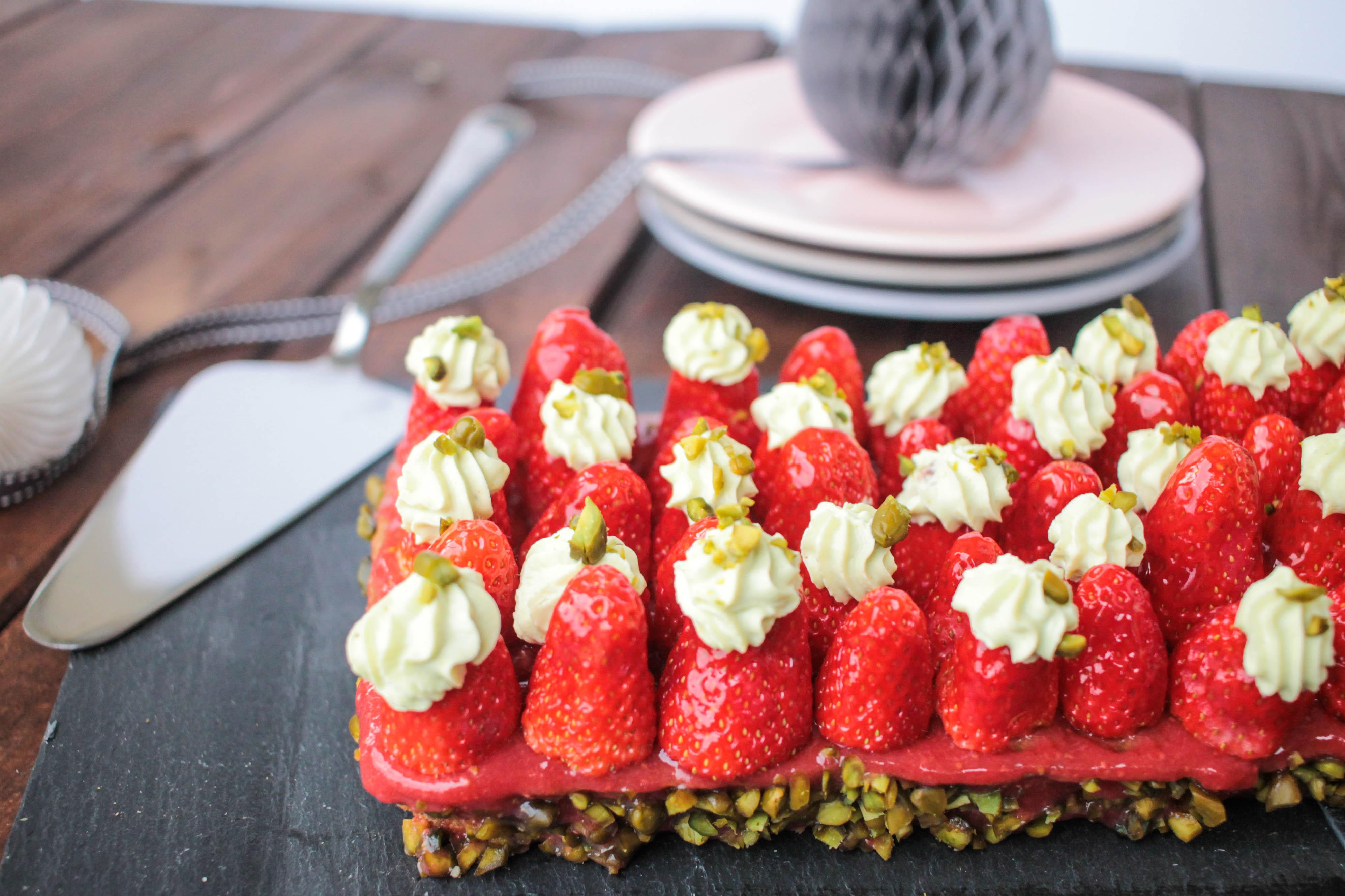 Tarte aux fraises et à la crème de pistache de Christophe Michalak