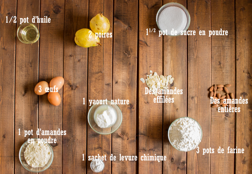 Gâteau au yaourt aux poires comme des financiers
