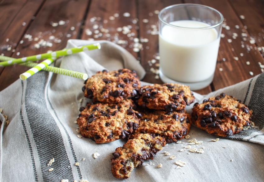 cookies aux bananes, flocons d'avoine et pépites de chocolat