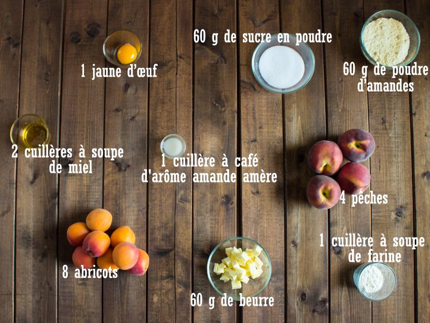Tians aux pêches et abricots sur lit de crème d'amandes