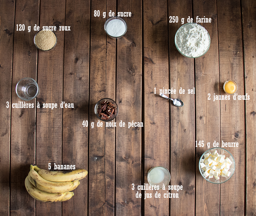 Tarte rustique aux bananes et noix de pécan