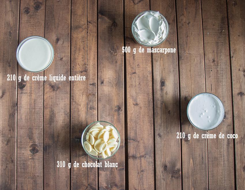Ingrédients ganache montée chocolat blanc coco gâteau exotique ananas coco