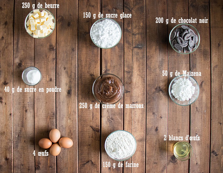 Ingrédients gâteau choco-marron meringué
