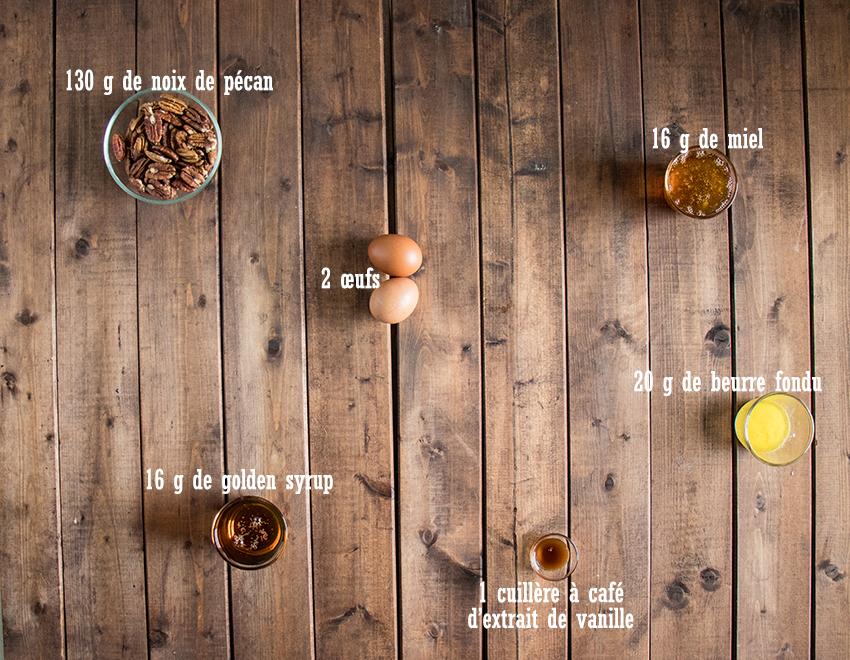 Ingrédients garniture mini pecan pies