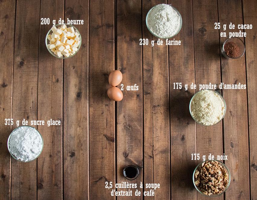 Ingredients carrés au chocolat, noix et café
