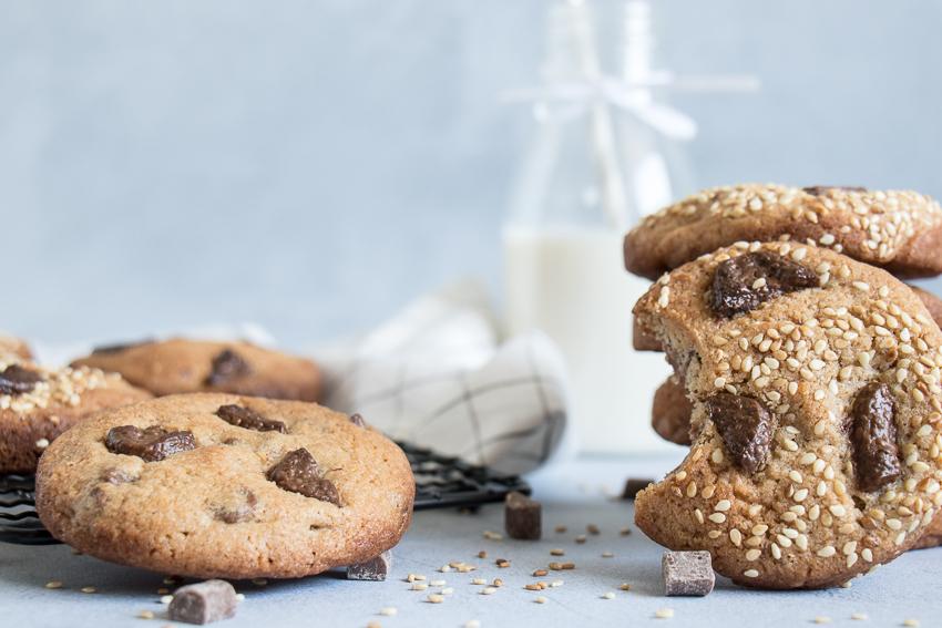 Cookies tahini, chocolat au lait
