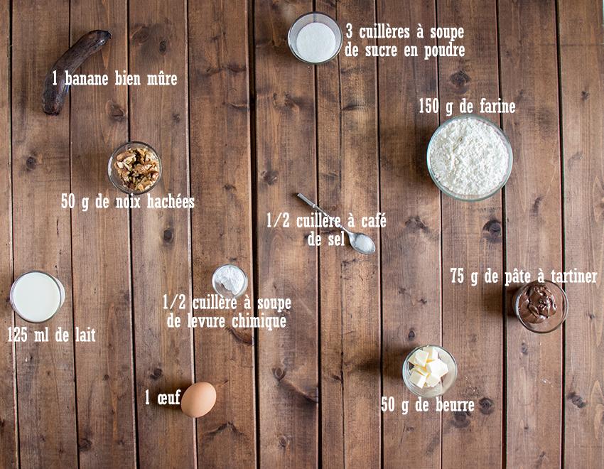 Muffins banane, noix et pâte à tartiner