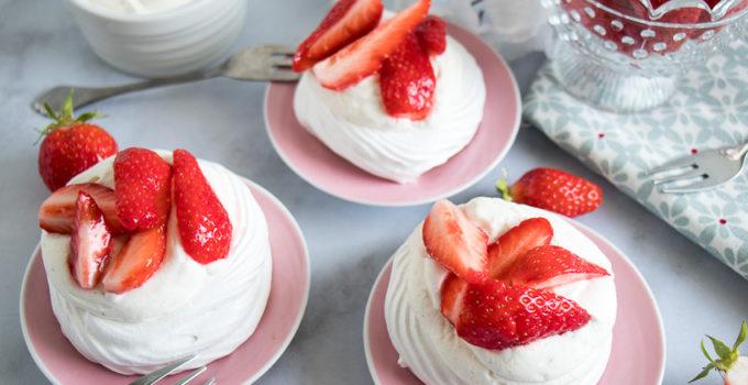 Mini pavlovas aux fraises