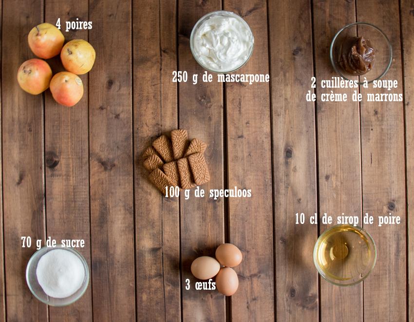 Tiramisu à la poire et crème de marrons