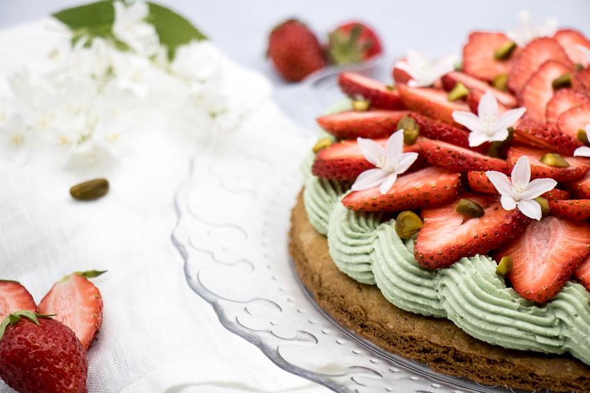 Tarte aux fraises et ganache pistache