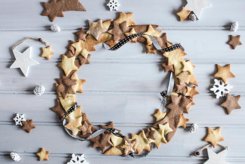 couronne de sablés de Noël vanille / cacao