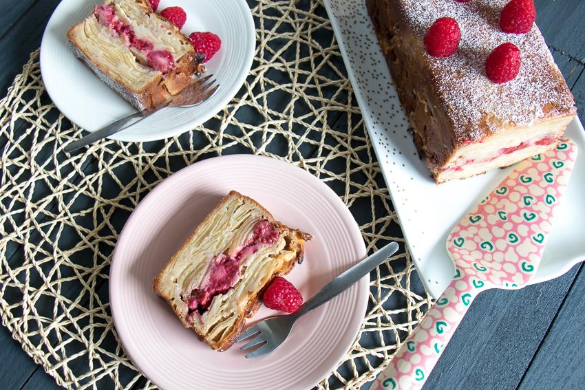 Gâteau invisible pommes framboises cacahuete