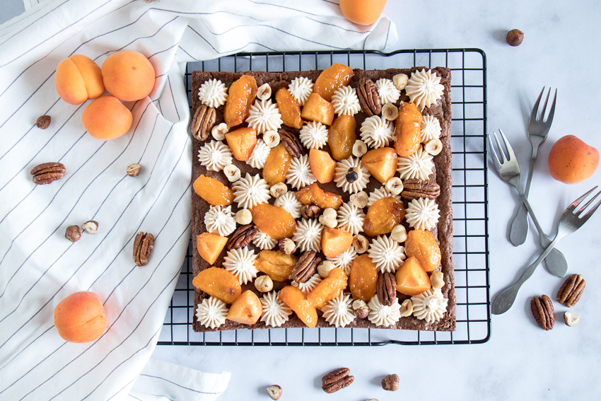 Brownie abricot praliné